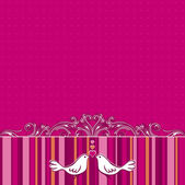 Hand draw  doves on pink striped background — Stockvektor