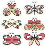 Six hand draw butterflyies, vector — Stock Vector #46644251