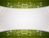 Green background with decorative ornaments, vector illustration — Wektor stockowy