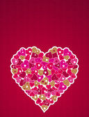 Corazón de color rosa, vector — Vector de stock