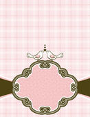 Doves on pink checked background with decorative label — Stock Vector