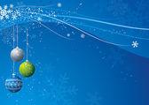 Blue christmas background with christmas  ball, vector — Stock Vector