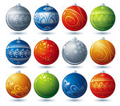 Twelve  christmas ball over white background, vector — Stok Vektör