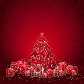 Illustration  with christmas tree and many gifts, vector illustration — Vettoriale Stock