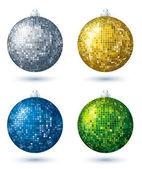 Four christmas disco  ball over white background, vector — Stock Vector