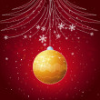 ������, ������: Red christmas card with golden ball vector
