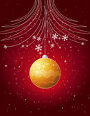Red christmas card with golden  ball, vector — Stock Vector