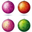 Four christmas disco ball over white background, vector — Stock Vector #47677075