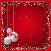 Red  christmas card with balls, vector illustration — Vector de stock