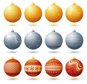 Twelve  christmas ball over white background, vector — Stock Vector