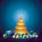 Illustration  with christmas tree and many gifts, vector illustration — Stok Vektör