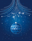 Blue christmas card with  ball, vector — Stock Vector