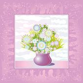 Vase των λουλουδιών σε μοβ φόντο — Διανυσματικό Αρχείο