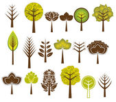 Many vector trees on the white background — Stock Vector