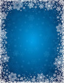 Blue background with frame of snowflakes, vector — Stock Vector