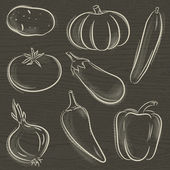 Set of vegetable, potato, pumpkin, cucumber, vector illustration — Vecteur