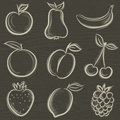 Set of fruits, fruit, apple,pear, banana, orange, plum, vector — Vector de stock