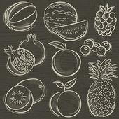 Set of fruits, melon, watermelon, blackberry, peach, vector — Vetorial Stock