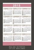Pocket calendar 2015, start on Sunday — Vettoriale Stock
