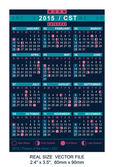 Vector calendar 2015 with Phases of the moon CST — Vettoriale Stock