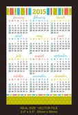 "Pocket calendar 2015, start on SundaySIZE: 2.4"" x 3.5"",  60mm x  — Stock Vector"