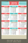 Pocket Calendar 2015, vector, start on Sunday — Vettoriale Stock