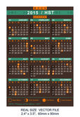 Vector calendar 2015 with Phases of the moon, HST — Vettoriale Stock