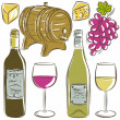 Set of glasses and bottles for wine, vector — Stock Vector #49926091