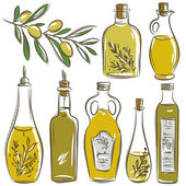 Set of bottle for olive oil, vector — Stock Vector