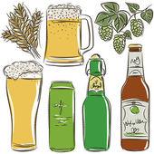 Set of beer bottle, vector — Stock Vector