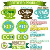 Conjunto de etiquetas de productos naturales orgánicos y emblemas, vector — Vector de stock
