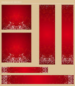 Red christmas banners with snowflakes, vector illustration — Stock Vector