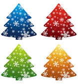 Four  christmas trees over white background, vector — Stock Vector