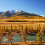 River HuIa, KurayskaI steppe and North Huyskiy backbone. — Stock Photo