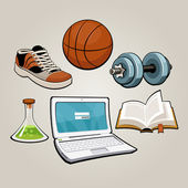 Sports and educational student set — Stock Vector