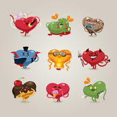 Valentines hearts icons set — Stock Vector