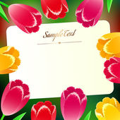 Krásná vodorovná obdélníková greating karta s gumičkou na jaře — Stock vektor