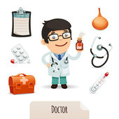Medical set with a male doctor — Stock Vector