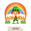 Lucky Leprechaun with a beer in front of a rainbow — Stock Vector