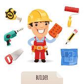 Builders icons set — Stock Vector