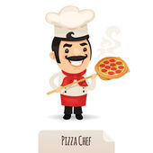 Pizza Chef With Pizza — Stock Vector