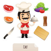 Male Chef Icons Set — Stock Vector