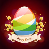Happy Easter Greening Card With Colored Egg — Stock Vector