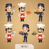 Chefs Cartoon Characters Set1.1 — Stock Vector