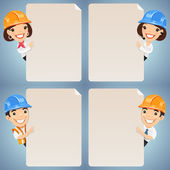 Foremen Cartoon Characters Looking at Blank Poster Set — Stock Vector