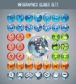 Infographics Globes Set1 — Stock Vector