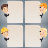 Businessmen Cartoon Characters Looking at Blank Poster Set — Stock Vector