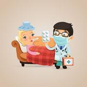 Doctor Visits a Sick Woman — Vector de stock