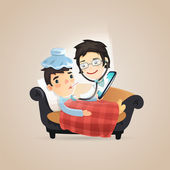 Doctors Online Diagnosis — Vector de stock