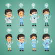 Doctors with Icons Set — Stock Vector
